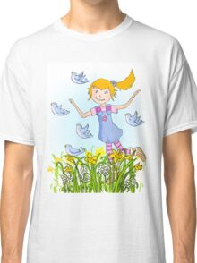 Spring in the air whimsical girl Classic T-Shirt