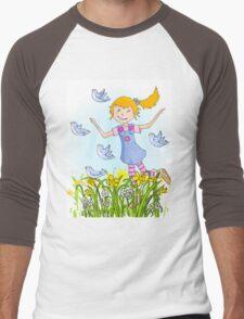 Spring in the air whimsical girl Men's Baseball ¾ T-Shirt