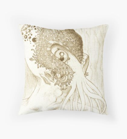 Minion of Cthulhu in Ceremonial Mask sketch Throw Pillow