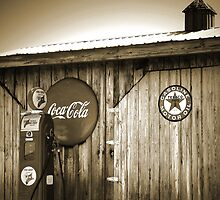 """""""Old Fire Chief Gas Pump In Sepia"""" by franticflagwave"""