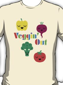 Veggin' Out (colored type) white T-Shirt