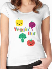 Veggin' Out (colored type) white Women's Fitted Scoop T-Shirt