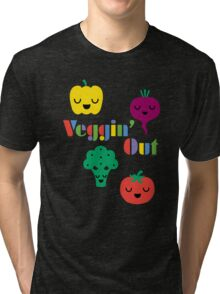 Veggin' Out (colored type) dark Tri-blend T-Shirt