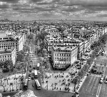 Champs-Élysées from the Arc De Triomphe in Black & White by Michael Matthews