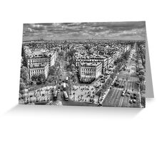 Champs-Élysées from the Arc De Triomphe in Black & White Greeting Card