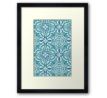 Colored Crayon Floral Pattern in Teal & White Framed Print