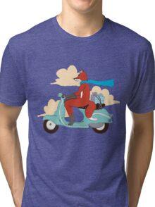 Vulpes on Vespa Tri-blend T-Shirt