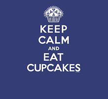 Keep Calm and Eat Cupcakes - white type Womens Fitted T-Shirt