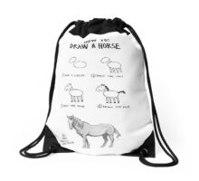How to draw a horse Drawstring Bag