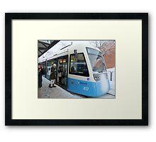 Blue Tram of Gothenburg in Winter Weather Framed Print