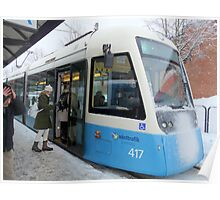 Blue Tram of Gothenburg in Winter Weather Poster