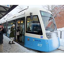 Blue Tram of Gothenburg in Winter Weather Photographic Print