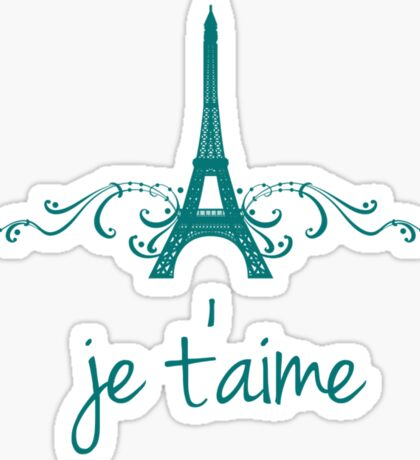 Teal Vintage French Flourish Sticker