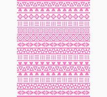 Aztec Influence Pattern II Pink on White Unisex T-Shirt
