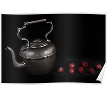 Antique Teapot and Fresh Raspberries Poster
