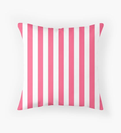 Pink and White Striped Throw Pillow Throw Pillow