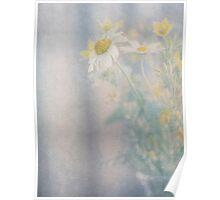 Still life of wild flowers in glass vase Poster