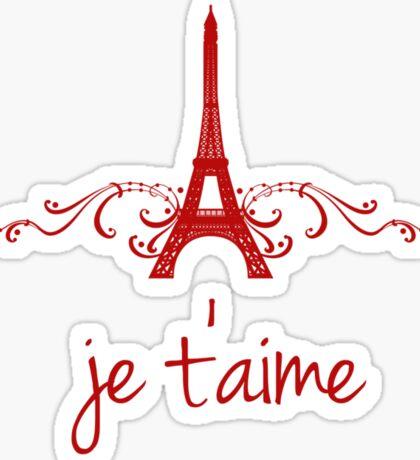 Red Vintage French Flourish Sticker