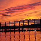 The Color of Joy, Bright Orange Sunset Sky, Belmar New Jersey USA by Michele Ford