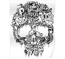 Skull funk Black Poster