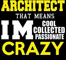 I'M ARCHITECHT THAT MEANS IM COOL COLLECTED PASSIONATE CRAZY by avidarts