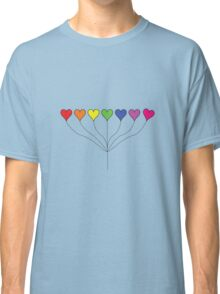 Seven Rainbow Colored Heart Balloons  Classic T-Shirt