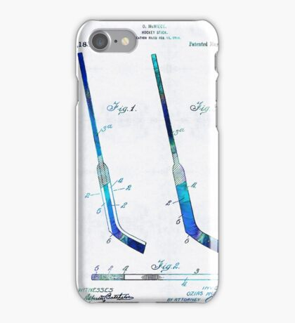 Blue Hockey Stick Art Patent - Sharon Cummings iPhone Case/Skin