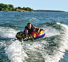 Tubing on Lake Joe Pool by Glenna Walker