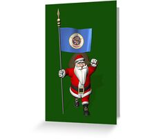 Santa Claus With Flag Of Minnesota Greeting Card