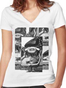Harley Engine Mashup Women's Fitted V-Neck T-Shirt
