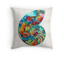 Colorful Nautilus Shell by Sharon Cummings Throw Pillow