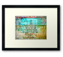 Inspirational Saadi quote about travel Framed Print
