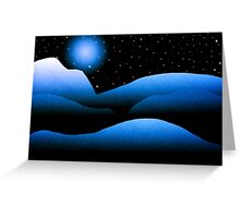 Blue Moon Mountain Landscape Art Greeting Card
