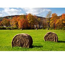 Fall Hay Bales Landscape Photographic Print