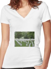 Military cemetery Washington DC Women's Fitted V-Neck T-Shirt