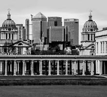 Old Royal Naval College, Greenwich set against Canary Wharf, London by Luke Farmer