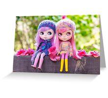 Best of friends: Blythe dolls in a spring garden Greeting Card