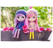 Best of friends: Blythe dolls in a spring garden Poster