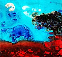 Red And Blue Landscape by Sharon Cummings  by Sharon Cummings