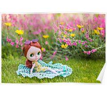 Sunbathing in the garden Poster