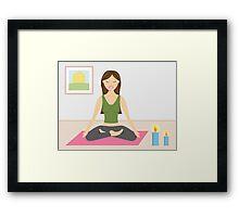 Cute Yoga Girl Doing Yoga In A Pretty Room Framed Print
