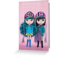 Blythes in Megipupu hats Greeting Card