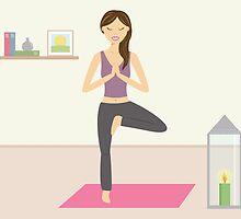 Cute Yoga Girl Practising Yoga In A Lovely Room by destei