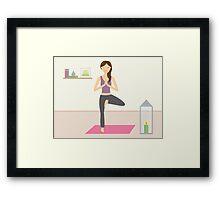 Cute Yoga Girl Practising Yoga In A Lovely Room Framed Print