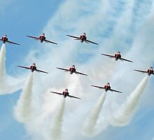 Red Arrows at Cosford 2 by Len Slack