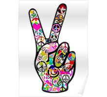 Peace Hippie Victory Fingers Poster