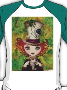 Lady Hatter T-shirt (w/background) T-Shirt