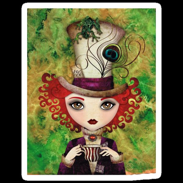 Lady Hatter T-shirt (w/background) by sandygrafik