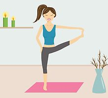 Cute Girl Doing Yoga In A Decorated Room by destei