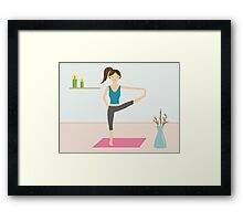 Cute Girl Doing Yoga In A Decorated Room Framed Print